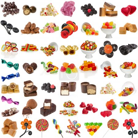 Photo for Various Candies Collection isolated on white background - Royalty Free Image