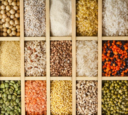 Photo for Variation of lentils, beans, peas, soybeans, legumes in wooden box - Royalty Free Image
