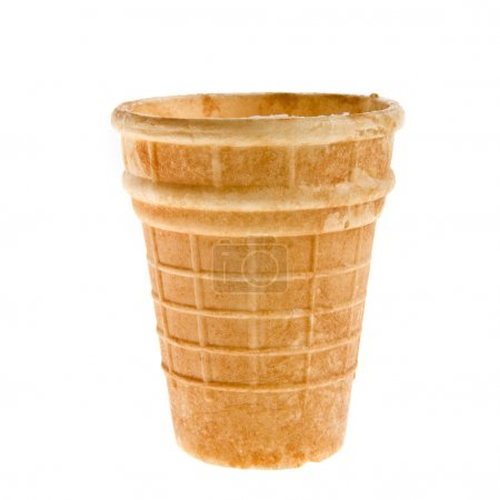 Empty waffle cup isolated on the white background
