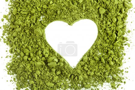 Photo for Powdered green tea forming heart shape isolated on white background - Royalty Free Image