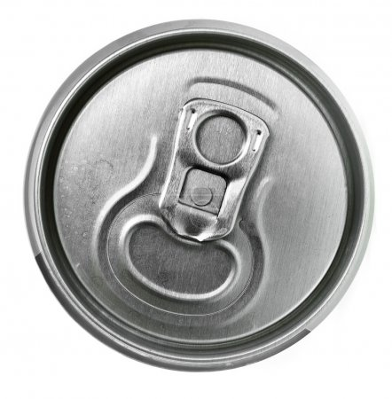 Aluminum tin can and easy-open close up, top view...