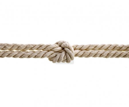 Jute rope with knot on white background