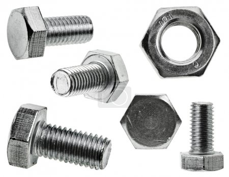Various views of the bolt and nut , Closeup isolated on a white background