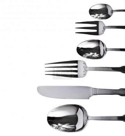 Photo for Fork knife and spoon on a white background - Royalty Free Image
