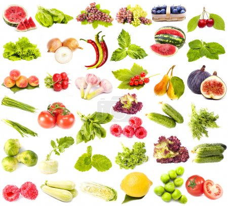 Collection of fresh juicy fruits, vegetables and berries
