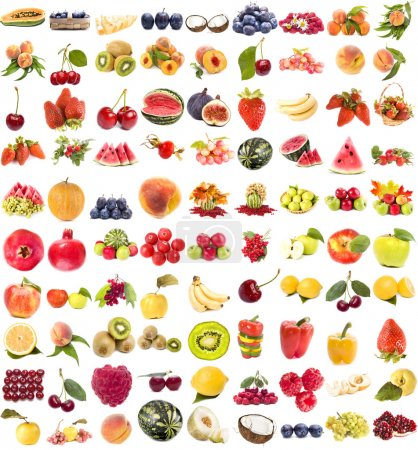 Photo pour Collection de fruits juteux et de baies sur fond blanc - image libre de droit