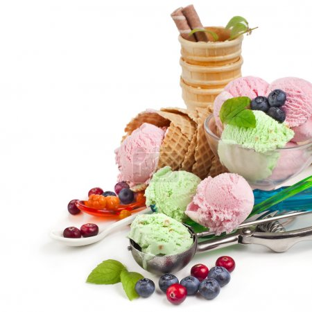 Photo for Ice cream with fresh berries on white - Royalty Free Image