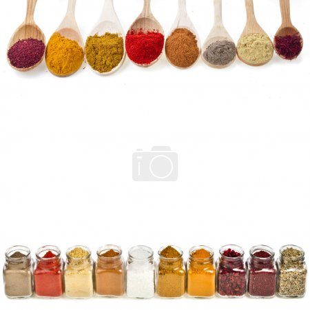 Photo for Border frame of colorful powder spices with copy space for text isolated on a white background - Royalty Free Image