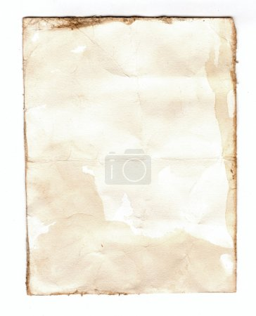 Old notebook paper isolated on white background