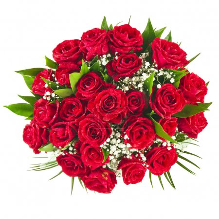 Photo for Big bunch bouquet of red roses isolated on the white background - Royalty Free Image