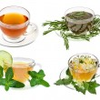 Herbal teas. Collection isolated on white backgrou...