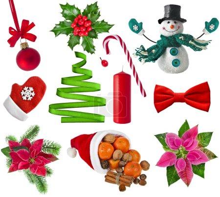 Photo pour Ensemble de collection de Noël d'objets colorés différents, isolés sur un fond blanc - image libre de droit