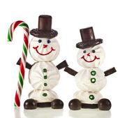 Sladký legrační sněhulák z cukrové vaty, čokoláda, bonbóny a jam