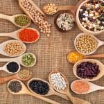 Various grain, beans, legumes, peas, lentils in sp...
