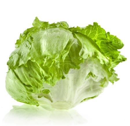 Fresh iceberg lettuce salad isolated on white...