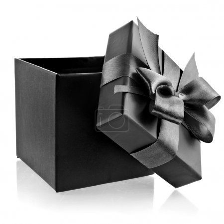 Photo for Opened black box wrapping ribbon bow isolated on white - Royalty Free Image