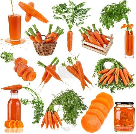 Photo pour Collection alimentaire de carottes isolées sur fond blanc - image libre de droit