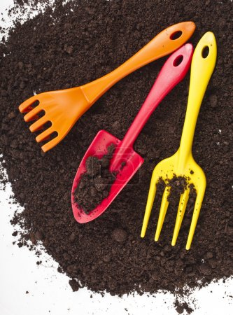 Colorful gardening tools in the soil surface corner border
