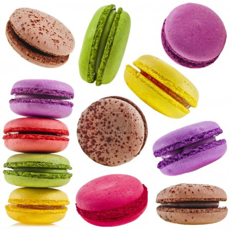 Photo for Collection set of Colorful assorted macaroons isolation on a white background - Royalty Free Image