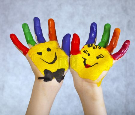 Photo for Hands Painted Children - Royalty Free Image