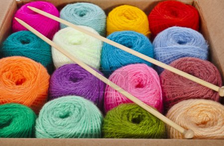 Cardboard box full colorful different thread balls of knitting yarn