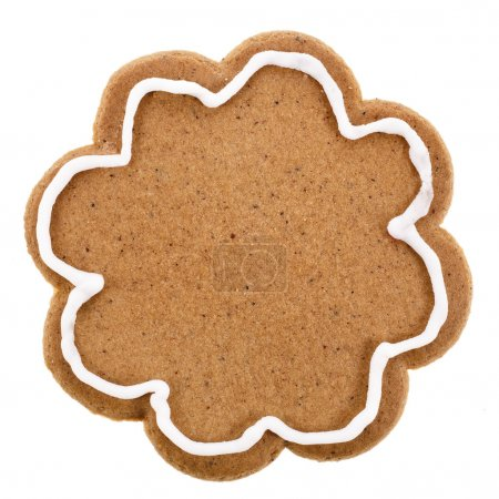Photo for Single Christmas gingerbread cookie close up isolated on a white background - Royalty Free Image