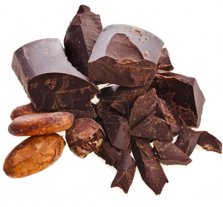 Photo for Chopped chocolate bar and cocoa beans isolated on white background - Royalty Free Image