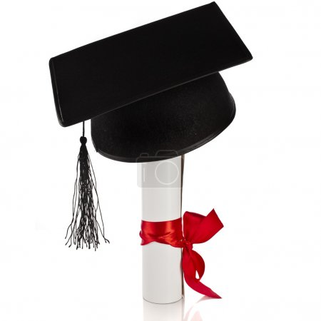 Photo for Black Graduation Cap with Degree Isolated on White Background - Royalty Free Image
