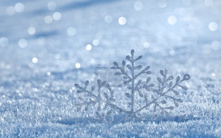 Photo for Winter snow surface cover background with snowflake close up - Royalty Free Image