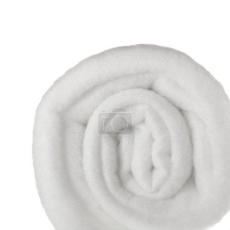 Foto de Rollo de fondo blanco aislado en material poliéster sintético - Imagen libre de derechos