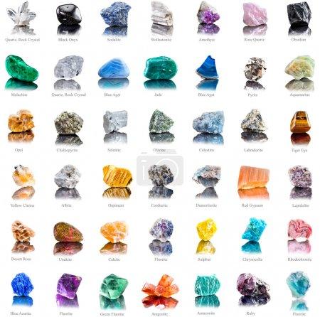Collection set of semi-precious gemstones stones a...