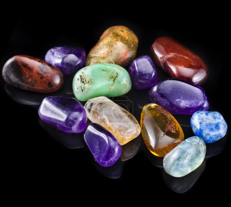 Collection of colorful semiprecious minerals stones