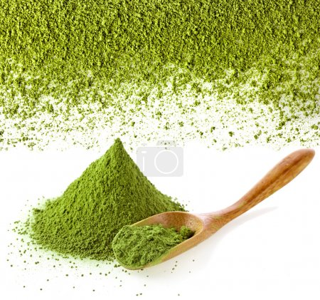 Powdered green tea with spoon