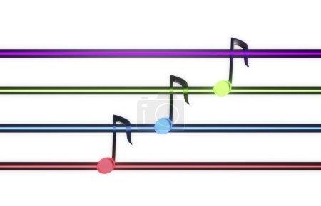 Photo pour Les notes de musique colorées et barres isolés sur fond blanc. - image libre de droit