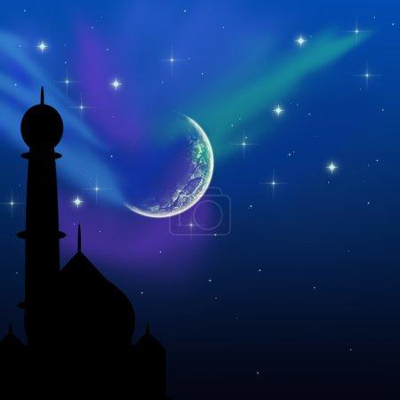 Photo pour Illustration de l'Aïd avec une scène magique du ciel du soir : silhouette d'une mosquée sur un ciel nocturne bleu avec des étoiles brillantes et la lune . - image libre de droit