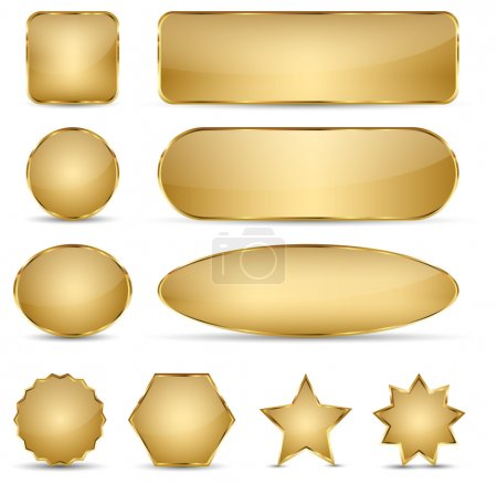 Illustration for Set of 10 elegant golden buttons with different shapes. - Royalty Free Image