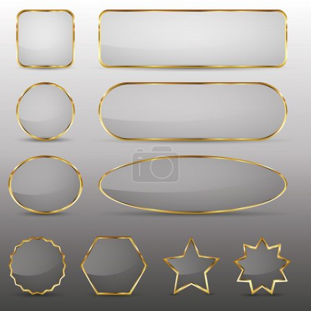 Illustration for Set of 10 elegant glass buttons with gold frame in different shapes. - Royalty Free Image