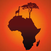 African Safari Map Silhouette Vector Background
