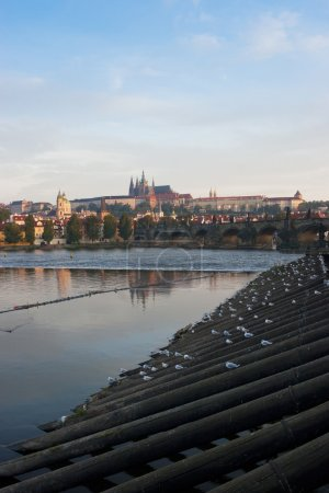 View of Prague castle and Charles Bridge in the morning, Czech r