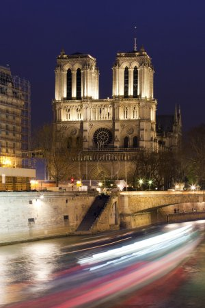 Notre Dame and Siena in Paris at night, France