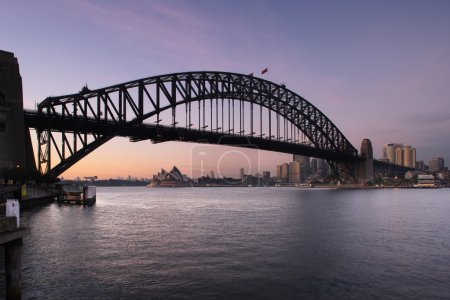 Sydney Harbour Bridge and Sydney Opera House at dawn