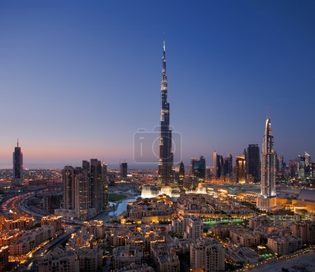 A skyline of Downtown Dubai with Burj Khalifa and Dubai Fountain