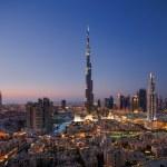 A skyline view of Downtown Dubai, showing the Burj Khalifa and Dubai Fountain