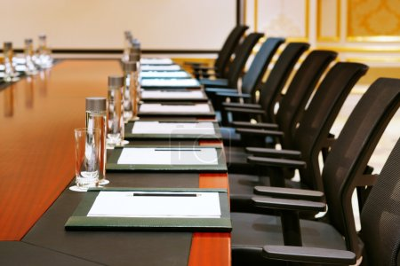 Photo for A detail shot of a meeting room often referred to as MICE by the hospitality fraternity - Royalty Free Image