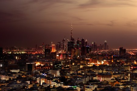 A skyline view of Dubai, UAE from Deira area