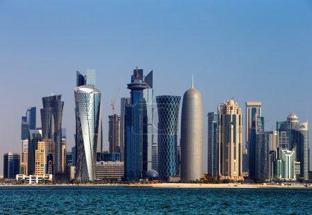 Doha, Qatar: The West Bay City skyline as viewed f...