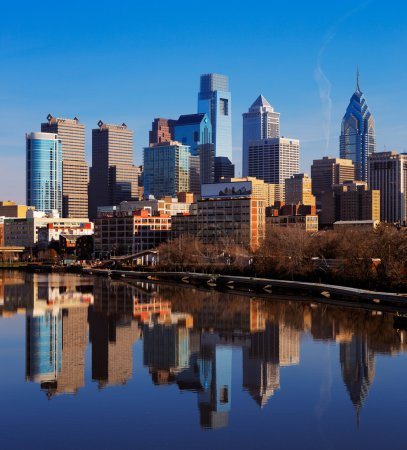 The City of Philadelphia reflected in the still waters of The Scullykill River