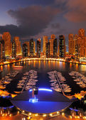 Dubai Marina at Dusk showing numerous skyscrapers of JLT