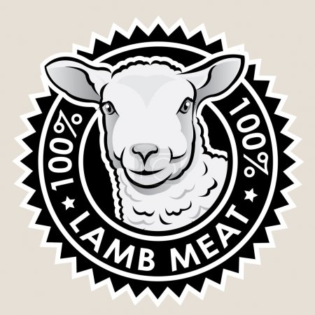 Illustration for Great seal certifying 100% Lamb Meat products. - Royalty Free Image