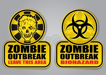 Illustration for Zombie Outbreak Biohazard warning signs - Royalty Free Image